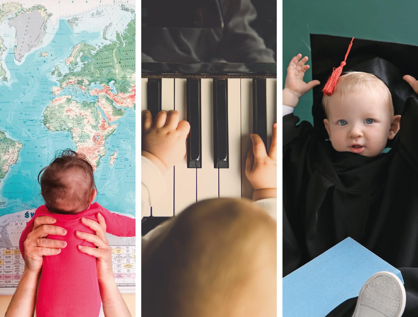 Symbolfotos: Baby vor Weltkarte, Kleinkind am Klavier, Kleinkind mit Doktorhut und schwarzer Robe